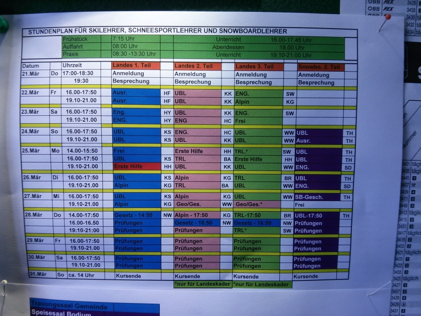 Timetable for the Ski Instructor Course