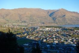 Wanaka town seen from Mt Iron