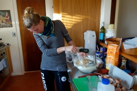 ... and a bit of flour (preferably in the bowl, not on the pants)....